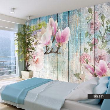 Fototapeta - Różowe kwiaty na drewnie 400x280 cm