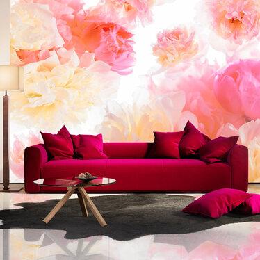 Fototapeta - Pastelowe piwonie 300x210 cm