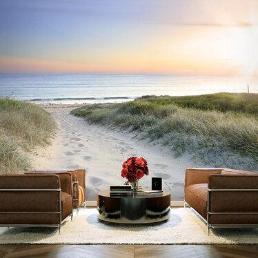 Fototapeta - Poranny spacer po plaży 300x210 cm