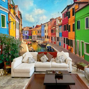 Fototapeta - Kolorowy kanał w Burano 300x210 cm