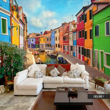 Fototapeta - Kolorowy kanał w Burano 400x280 cm