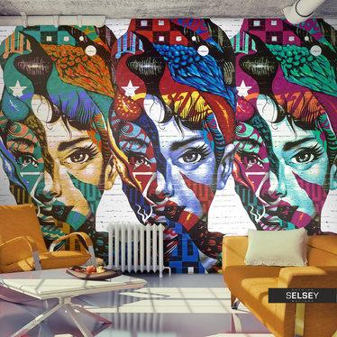 Fototapeta - Kolorowe twarze 350x245 cm