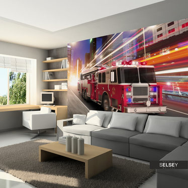 Fototapeta - Wóz strażacki 350x245 cm