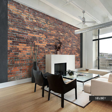 Fototapeta - Vintage Wall (Red Brick) 350x245 cm