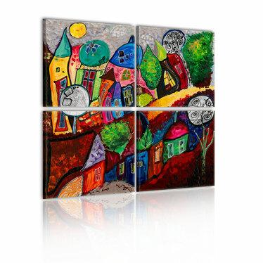 Obraz - Kolorowe miasto 80x80 cm