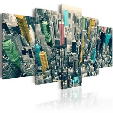 Obraz - Szarość dnia ożywiona - NY 100x50 cm