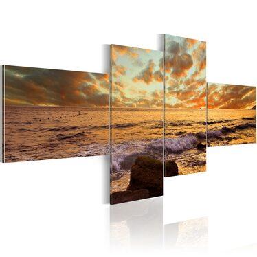 Obraz - Zachód słońca nad morzem 200x90 cm