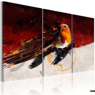 Obraz - Mały ptaszek na czerwono-białym tle 60x40 cm