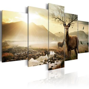 Obraz - Tundra i jelenie 200x100 cm
