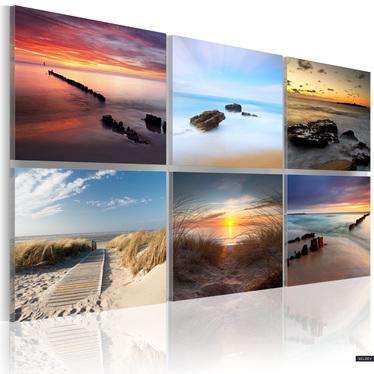 Obraz - Urok wybrzeża o różnych porach dnia 120x80 cm