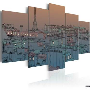 Obraz - Paryż - zapada zmrok 200x100 cm