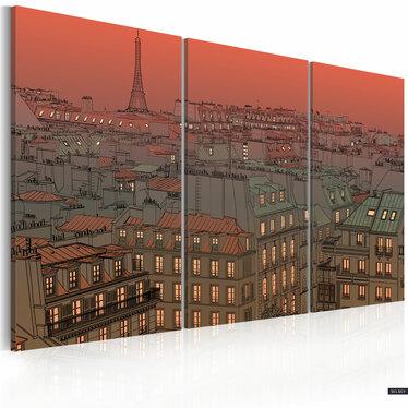 Obraz - Paryska Wieża Eiffla na tle zachodzącego słońca 60x40 cm