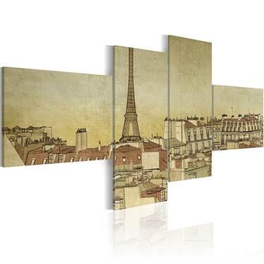 Paris In Retro Style 4 Piece Canvas Print 200x90 cm