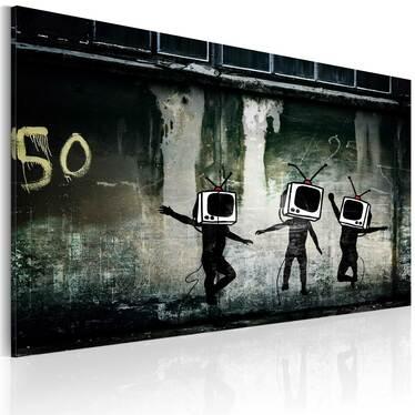 Obraz - Taniec telewizyjnych głów (Banksy) 60x40 cm