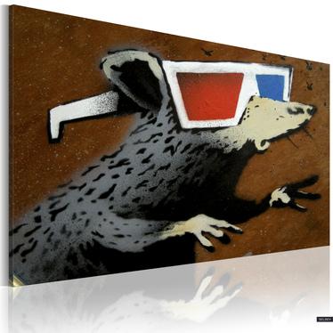 Obraz - Szczur w okularach 3D (Banksy) 60x40 cm