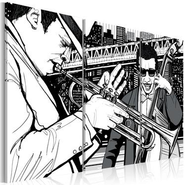Obraz - Koncert jazzowy na tle nowojorskich wieżowców 60x40 cm
