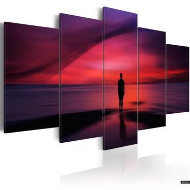 Obraz - Mężczyzna podziwiający zachód słońca 100x50 cm