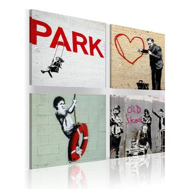 Obraz - Banksy - miejskie inspiracje 80x80 cm
