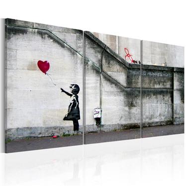 Obraz - Zawsze jest nadzieja (Banksy) - tryptyk 60x30 cm