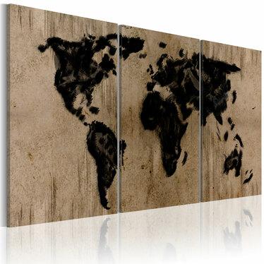 Obraz - Atramentowa mapa świata 60x30 cm