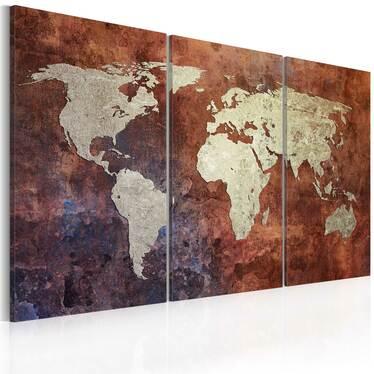 Obraz - Rdzawa mapa świata - tryptyk 60x40 cm