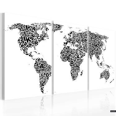 Obraz - Litery i kontynenty 120x60 cm