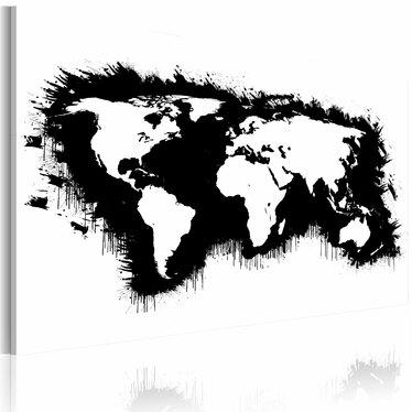 Obraz - Monochromatyczna mapa świata 90x60 cm