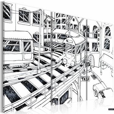 Obraz - Futurystyczna stacja kolejowa - black and white 120x80 cm