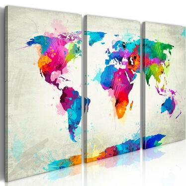 Obraz -  Mapa świata: Eksplozja kolorów  60x40 cm