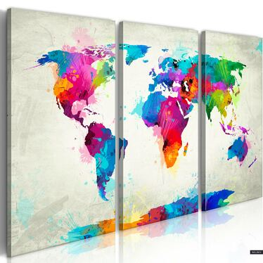 Obraz -  Mapa świata: Eksplozja kolorów  120x80 cm