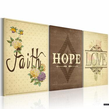 Obraz - Faith, Hope & Love 60x40 cm