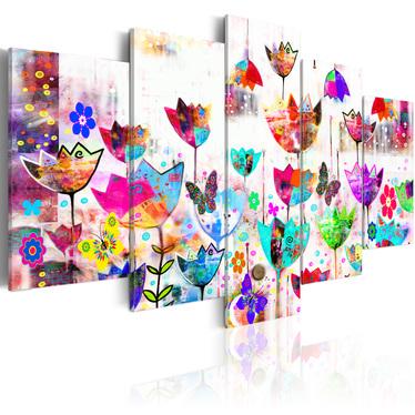 Obraz - Tulipany w deszczu 100x50 cm