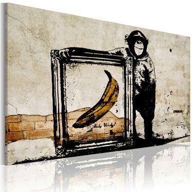 Obraz - Zainspirowane Banksym - sepia 90x60 cm