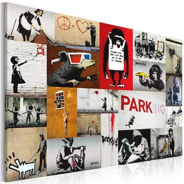 Obraz - Banksy - kolaż 90x60 cm