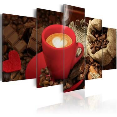 Love Espresso 5 Piece Canvas Print 100x50 cm