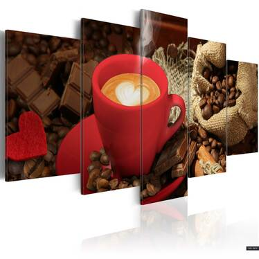 Love Espresso 5 Piece Canvas Print 200x100 cm