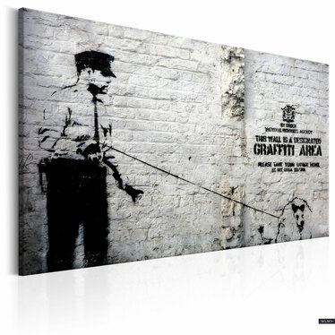 Obraz - Graffiti Area (Police and a Dog) by Banksy 60x40 cm