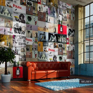 Fototapeta - Banksy - kolaż 50x1000 cm