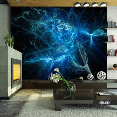 Fototapeta - Niebieskie pioruny 300x231 cm