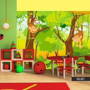 Fototapeta - dżungla - małpy 300x231 cm
