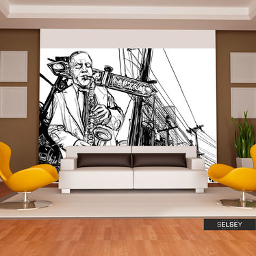Fototapeta - Saxophone recital on Broadway 400x309 cm