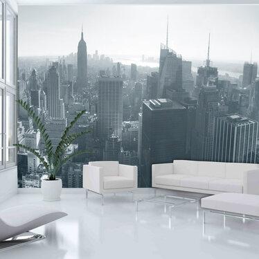 Fototapeta - Czarno-biała panorama Nowego Jorku 200x154 cm