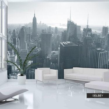 Fototapeta - Czarno-biała panorama Nowego Jorku 400x309 cm
