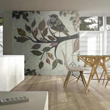 Fototapeta - Ptaszek na gałęzi (patchwork) 200x154 cm