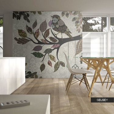 Fototapeta - Ptaszek na gałęzi (patchwork) 250x193 cm