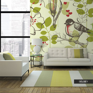 Fototapeta - Ptak i lilie - motyw vintage 250x193 cm