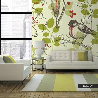 Fototapeta - Ptak i lilie - motyw vintage 300x231 cm
