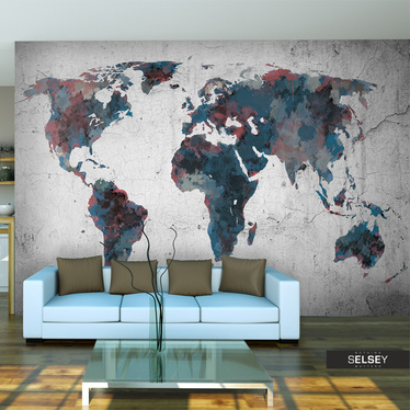 Fototapeta - World map on the wall 250x193 cm