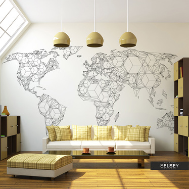 Fototapeta - Map of the World - white solids 200x154 cm