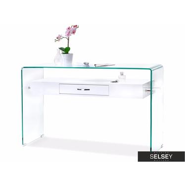 Biurko Opal białe ze szkła z szufladą